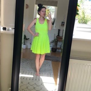 Neon Yellow/Lime Skater Dress by Express